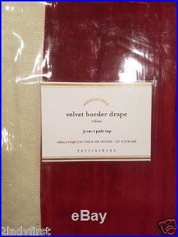 2 Pottery Barn Velvet Border Pole Top Drapes 50 X 108 RED