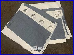 2 Pottery Barn kids Hayden Rugby Blackout curtains NAVY BLUE 84 X 44