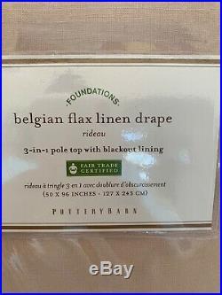 2 pottery barn Belgian Flax Linen Drapes Blackout Lining 50x96 Plush Rose Pink