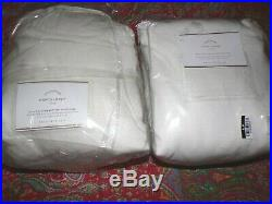2 pottery barn Emery Linen Drapes 100 x 108 white Blackout Lining Double width