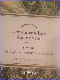 2pc Pottery Barn ALANA MEDALLION SHEER DRAPES 50 X 84 Porcelain Blue NWT