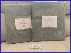 2pc Pottery Barn Belgian Flax Linen Sheer Drapes 50 x 84 Gray Pole Top