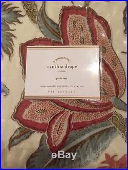 2pc Pottery Barn Ivory Cynthia Palampore 96 Drape Curtain Window Panels