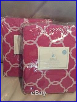 2pc Pottery Barn KIDS ABIGAIL BLACKOUT PANELS Bright Pink 44X84 NWT
