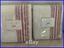 2pc Pottery Barn Riviera Stripe Drape Red 50x108 Curtain Pole Blockout $358