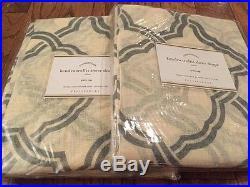 2pc panel, pottery barn kendra trellis sheer drapes, 84 Linen Blue