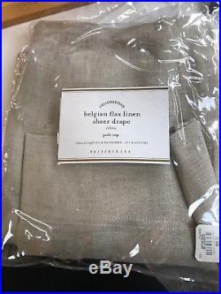 2x Pottery Barn Belgian Flax Linen Sheer Drape. Rideau. 84. NIP