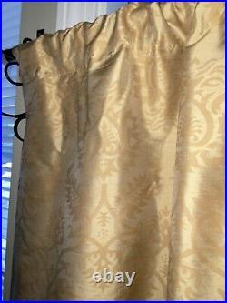 3 Restoration Hardware Thai Silk Damask Gold Curtain Drapes 50x84
