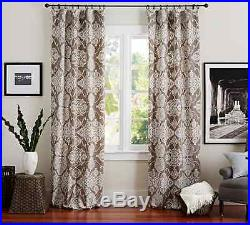 4 New Pottery Barn Alana Medallion Linen/cotton Curtains Drapes 96 Brownstone