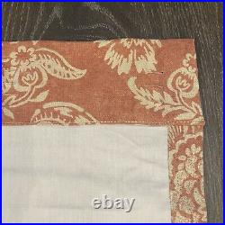 4 POTTERY BARN Alessandra Floral 50 x 108 Linen Lined Drape Curtain Panel Red