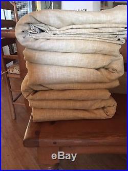 4 POTTERY BARN EMERY LINEN COTTON BLACKOUT DRAPES, 50 x 108, WHEAT