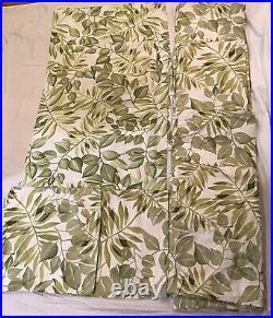4 Pottery Barn Green Leaves 50 X 96 Curtain Panel Drape, 5 Matching Pillow Shams