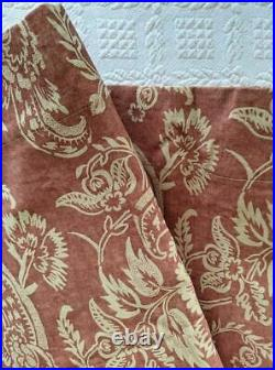 4 panels Pottery Barn Alessandra Scroll Terracotta Red Lined Rod Pocket Curtains