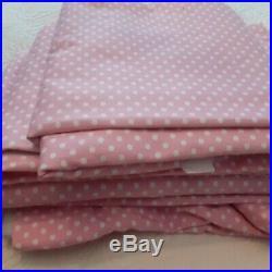 4 panels of Pottery Barn Kids Pink Polka Dot Room Darkening Curtains 44 x 63