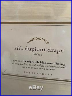 4pc Pottery Barn Silk Dupioni Grommet Blackout Drape Panels 50x84L Ivory New