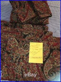 7-pc POTTERY BARN CARRIE PAISLEY KING DUVET, 2 K Shams, 4 Curtain panels Red New