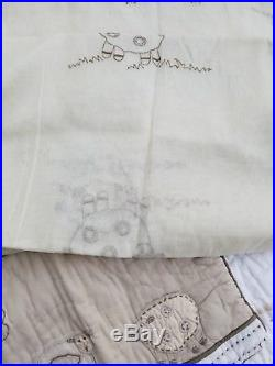 9pc Pottery Barn Kids Sweet Lambie nursery toddler quilt, sham, curtains more