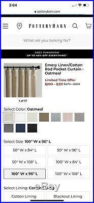 Beautiful Pottery Barn Flax Linen Curtains Set Of 2 Panels 100w X 96L