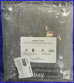 Belgian Flax Linen Rod Pocket Curtain, Cotton Lining, 50 x 108, Chambray Gray