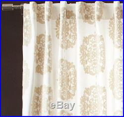 Claude Medallion Flocked Curtain 48x96 in Stone from West Elm/Pottery Barn