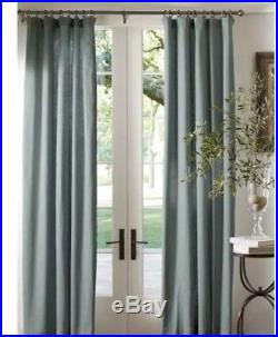 Euc Pottery Barn Linen Cotton Drape 50 108 Green Blue Curtain Set Of 2