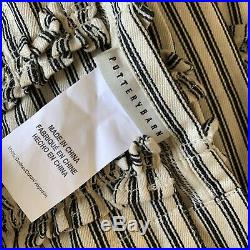 LOT OF 2 Pottery Barn TICKING STRIPE Ruffled Shower Curtain Black and Ivory HTF