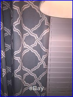 Lot Of 4 Pottery Barn Porcelain Blue Lined Kendra Trellis Drapes 50x 96 (94)