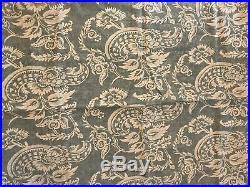 Lot Pottery Barn Blue Gray Cream Paisley Curtains 50x84 Linen Cotton 4 Panels SU