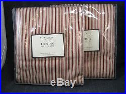 Lot of 2 Pottery Barn Ticking Stripe Drapes each 50 x 96 inches red/white NEW