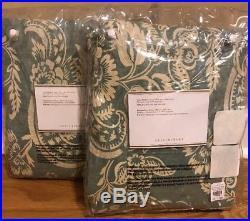 NEW 2PC Pottery Barn Alessandra Floral 96 BLACKOUT Drape PORCELAIN BLUE