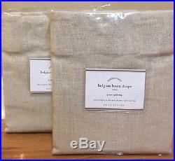 NEW 2PC Pottery Barn Belgian Flax Linen Drapes 50 x 96 NATURAL