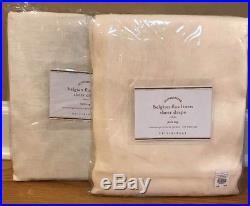 NEW 2PC Pottery Barn Belgian Flax Linen Sheer 50 x 84 Drape IVORY