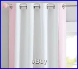 NEW 2PC Pottery Barn Kids Color Border Grommet BLACKOUT 84 Panel Pink Sold Out