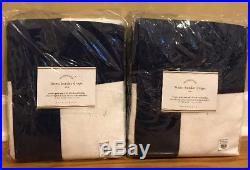 NEW 2PC Pottery Barn Linen Border 50 x 84 BLACKOUT Drape NAVY WHITE