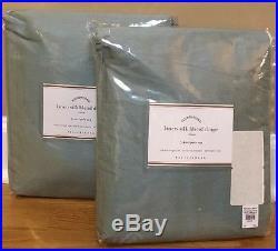 NEW 2PC Pottery Barn Linen Silk Blend Drape 50x96 BLUE DAWN