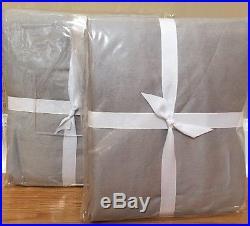 NEW 2PC Pottery Barn Linen Silk Blend Pole Top 50x84 Drape PLATINUM GRAY