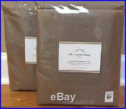 NEW 2PC Pottery Barn Silk Dupioni BLACKOUT Drape 50 x 96 BROWNSTONE