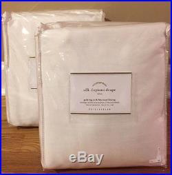 NEW 2PC Pottery Barn Silk Dupioni BLACKOUT Drapes 104 x 108 WHITE