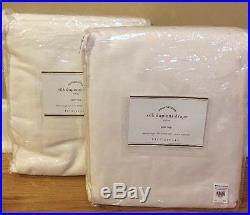 NEW 2PC Pottery Barn Silk Dupioni Pole Top Drape 104 x 96 WHITE