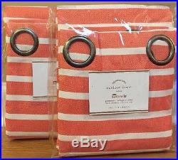 NEW 2PC Pottery Barn Sunbrella OUTDOOR Brice Stripe 108 Drape MELON WHITE