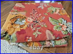 NEW Linen Blend POTTERY BARN Red Floral Vanessa Curtain 2 Panels 50 x 84