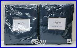 NEW Pottery Barn 2 Dupioni Silk 50x96 Cotton Lined Drapes CurtainsLagoon Blue