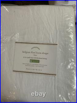 NEW Pottery Barn Belgian Flax Linen Blackout Curtain Drape Panel WHITE 50x 96