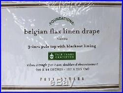 NEW Pottery Barn Classic Belgian Flax Linen 50x84 BLACKOUT Drape CurtainIvory