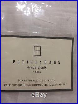 NEW Pottery Barn Drape Shade Tie White Linen Cotton Sheer Curtain NIP 44 X 63 In