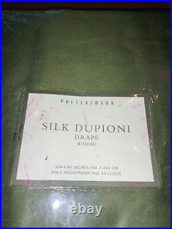 NEW Pottery Barn Dupioni Silk 104 x 96 PoleTop Drape Curtain Green