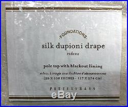 NEW Pottery Barn Dupioni Silk Pole Pocket 50 x 108 BLACKOUT Drape CurtainIvory