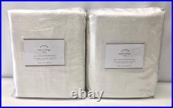 NEW Pottery Barn Emery 50 x 84 PoleTop BLACKOUT Drapes CurtainsSET OF 2Ivory