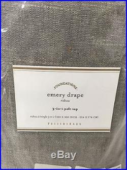 NEW Pottery Barn Emery Double Wide Drape 100x108Gray