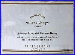 NEW Pottery Barn Emery Linen Cotton 50 x 96 BLACKOUT Drape CurtainWhite